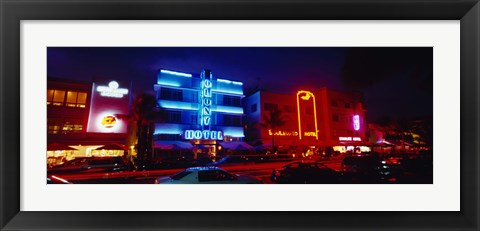 Framed Low Angle View Of A Hotel Lit Up At Night, Miami, Florida, USA Print