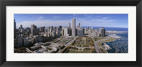 Framed USA, Illinois, Chicago, Millennium Park, Pritzker Pavilion, aerial view of a city Print