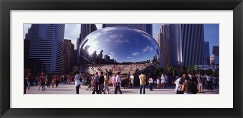 Framed USA, Illinois, Chicago, Millennium Park, SBC Plaza, Tourists walking in the park Print