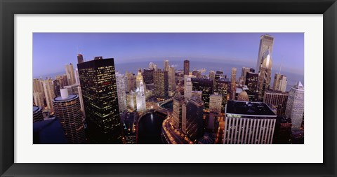 Framed USA, Illinois, Chicago, Chicago River, High angle view of the city Print