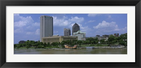 Framed Columbus, Ohio on a Cloudy day Print
