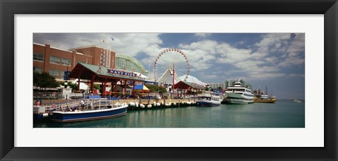 Framed Boats moored at a harbor, Navy Pier, Chicago, Illinois, USA Print