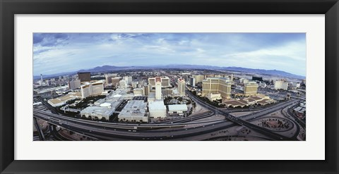 Framed Aerial view of a city, Las Vegas, Nevada Print