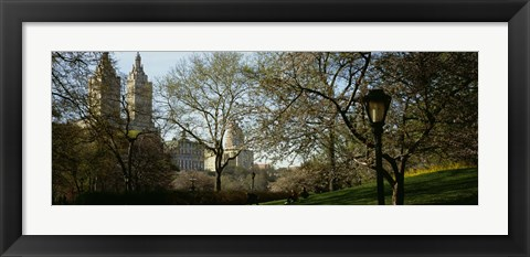 Framed Park In Front Of A Building, Central Park, NYC, New York City, New York State, USA Print