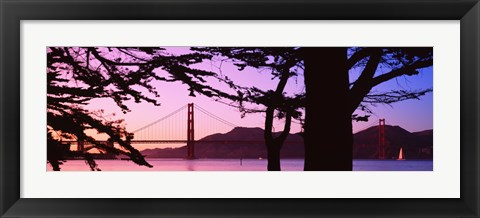 Framed Suspension Bridge Over Water, Golden Gate Bridge, San Francisco, California, USA Print