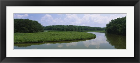 Framed Reflection of clouds in water, Colonial Parkway, Williamsburg, Virginia, USA Print