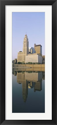 Framed Reflection of buildings in a river, Scioto River, Columbus, Ohio, USA Print