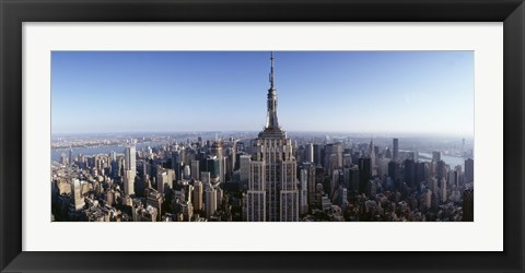 Framed Aerial view of a cityscape, Empire State Building, Manhattan, New York City, New York State, USA Print