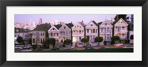 Framed Row houses in a city, Postcard Row, The Seven Sisters, Painted Ladies, Alamo Square, San Francisco, California Print