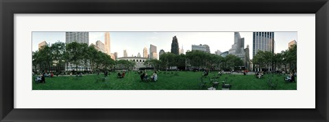 Framed 360 degree view of a public park, Bryant Park, Manhattan, New York City, New York State, USA Print