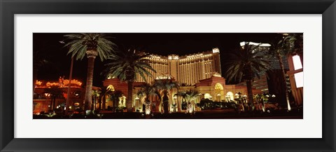 Framed Hotel lit up at night, Monte Carlo Resort And Casino, The Strip, Las Vegas, Nevada, USA Print