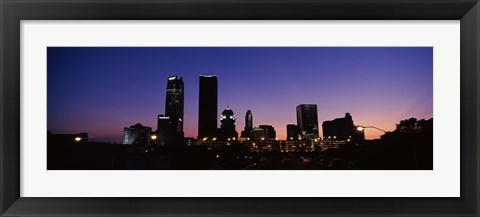 Framed Downtown Oklahoma City at Night Print