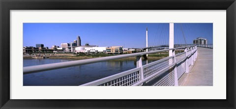 Framed Bridge across a river, Bob Kerrey Pedestrian Bridge, Missouri River, Omaha, Nebraska, USA Print