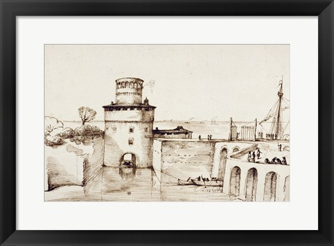 Framed Landscape with a View of a Fortified Port Print