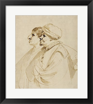 Framed Caricature of Two Men Seen in Profile Print