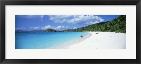 Framed Tourists on the beach, Trunk Bay, St. John, US Virgin Islands Print