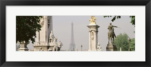 Framed Low angle view of a statue, Alexandre III Bridge, Eiffel Tower, Paris, France Print