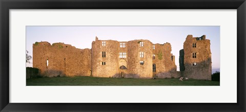 Framed Lawn in front of a landscape, Roscommon Castle, Roscommon County, Republic Of Ireland Print