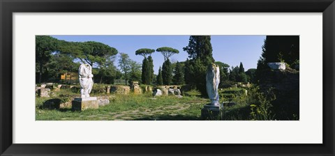 Framed Ruins of statues in a garden, Ostia Antica, Rome, Italy Print