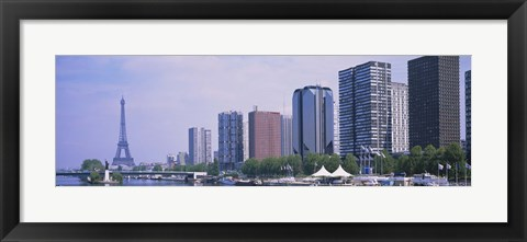 Framed Skyscrapers at the waterfront with a tower in the background, Seine River, Eiffel Tower, Paris, Ile-De-France, France Print