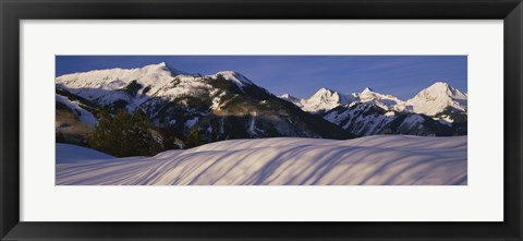 Framed Mountains covered with snow, Snowmass Mountain on left, Capitol Peak on right, Elk Mountains, Snowmass Village, Colorado, USA Print