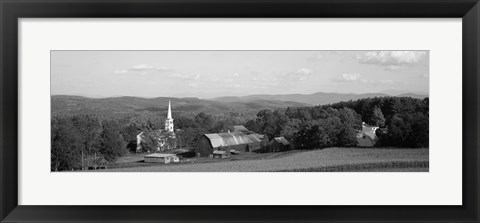 Framed High angle view of barns in a field, Peacham, Vermont (black and white) Print