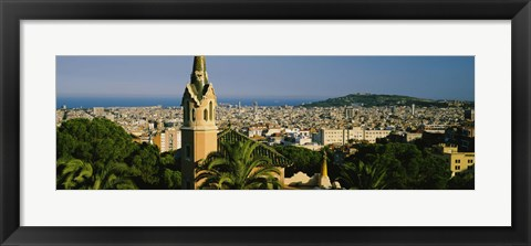 Framed High Angle View of Barcelona, Spain Print