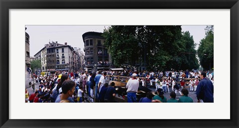 Framed Crowd at Festival of San Fermin, running of the bulls, Pamplona, Navarre, Spain Print