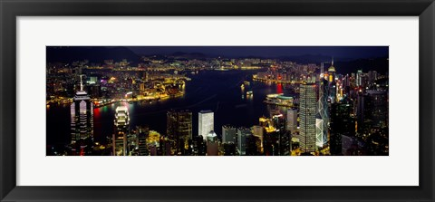 Framed Buildings Illuminated At Night, Hong Kong Print