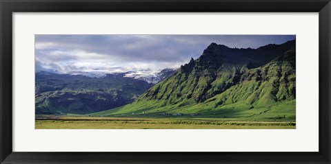 Framed View Of Farm And Cliff In The South Coast, Sheer Basalt Cliffs, South Coast, Iceland Print