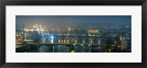 Framed High angle view of a bridge at dusk, Charles Bridge, Prague, Czech Republic Print