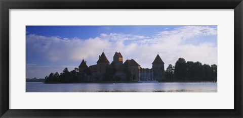 Framed Buildings at the waterfront, Trakai Island Castle, Lake Galve, Vilnius, Trakai, Lithuania Print