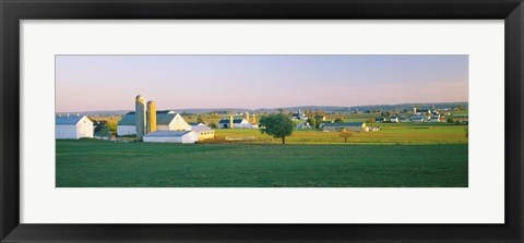 Framed Amish Farms, Lancaster County, Pennsylvania Print