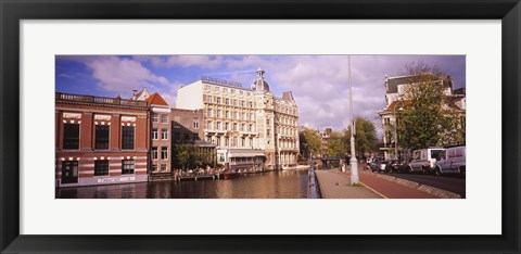 Framed Buildings along a water channel, Amsterdam, Netherlands Print