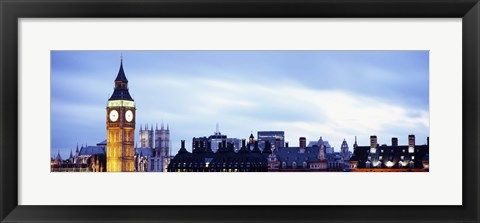 Framed Buildings in a city, Big Ben, Houses Of Parliament, Westminster, London, England Print