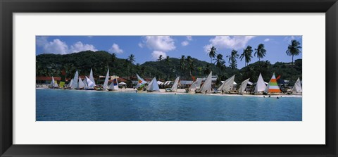 Framed Sailboats on the beach, Grenada Sailing Festival, Grand Anse Beach, Grenada Print