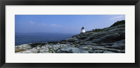 Framed Castle Hill Lighthouse at the seaside, Newport, Newport County, Rhode Island, USA Print