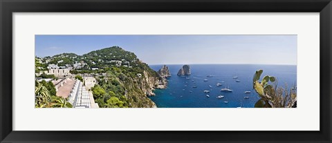 Framed Boats in the sea, Faraglioni, Capri, Naples, Campania, Italy Print