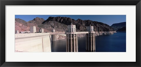 Framed Dam on the river, Hoover Dam, Colorado River, Arizona, USA Print