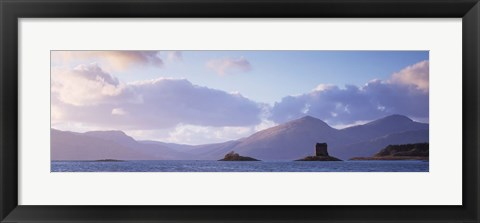 Framed Castle at dusk with mountains in the background, Castle Stalker, Argyll, Highlands Region, Scotland Print