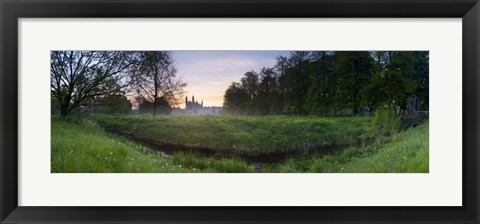 Framed Green field with university building in the background, King's College, Cambridge, Cambridgeshire, England Print