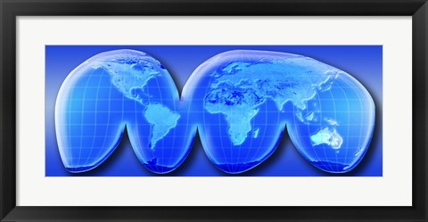 Framed Map of World from Goode's Homolosine Projection (blue) Print