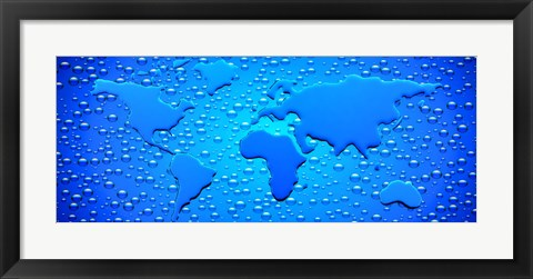 Framed Water drops forming continents Print