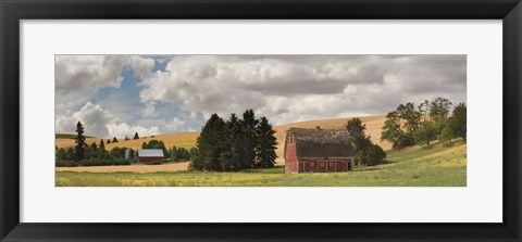Framed Old barn under cloudy sky, Palouse, Washington State, USA Print