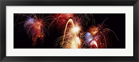 Framed Fireworks Display, Banff, Alberta, Canada Print