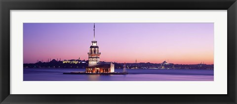 Framed Sunset Lighthouse Istanbul Turkey Print