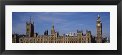 Framed Blue sky over a building, Big Ben and the Houses Of Parliament, London, England Print