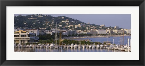 Framed High Angle View Of Boats Docked At Harbor, Cannes, France Print
