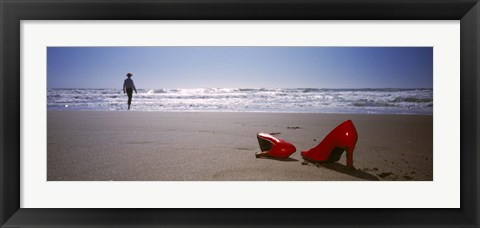 Framed Woman And High Heels On Beach, California, USA Print
