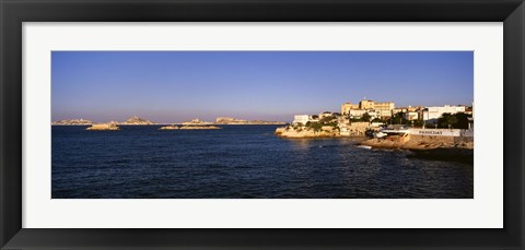 Framed Buildings at the waterfront, Marseille, France Print